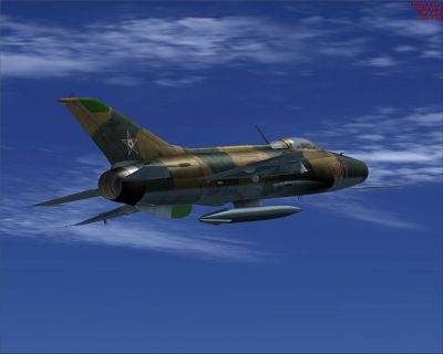 Hungarian Air Force MiG-21 F-13 in flight.