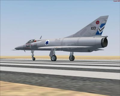 Israeli Air Force Mirage III on runway.