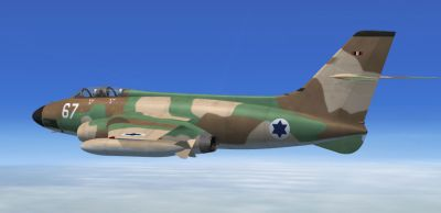 Side view of Israeli Air Force Vautour IIN in flight.