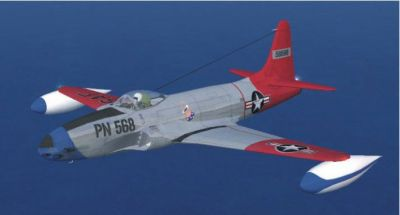 Lockheed F80 Shooting Star flying over water.