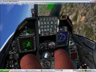 Virtual cockpit of Lockheed Martin F-16.