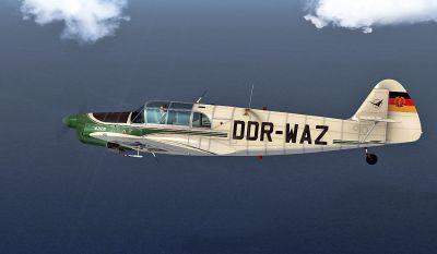 Messerschmitt Bf 108 Taifun DDR-WAZ in flight.