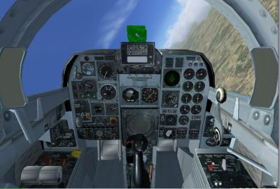 Virtual cockpit of Mitsubishi F-1 Supporting Fighter.