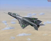 Pakistan Air Force MiG-21 F-13 in flight.