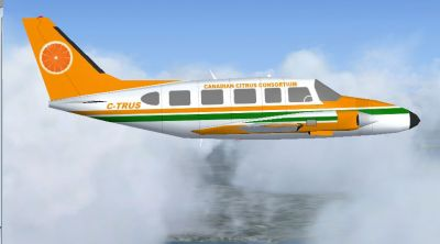 Canadian Citrus Consortium Piper PA-31 Navajo in flight.