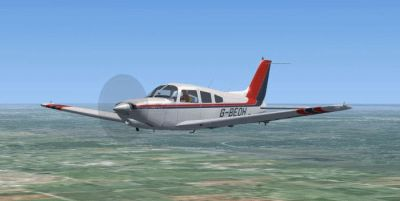 Piper Cheroke Arrow III Turbo in flight.