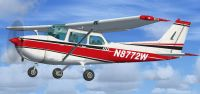 Red And White Cessna 172 in flight.