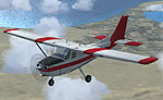 Red and white Cessna 182 in flight.