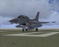 Royal Bahraini Air Force F-16D on runway.