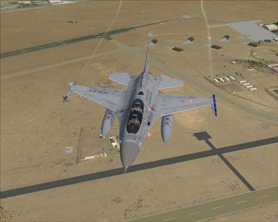 Royal Bahraini Air Force F-16D in flight.