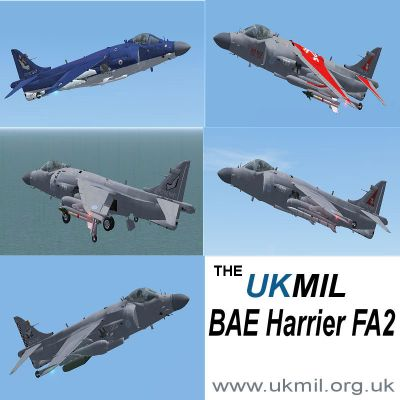 Five different loadouts of Royal Navy BAE Harrier FA2.