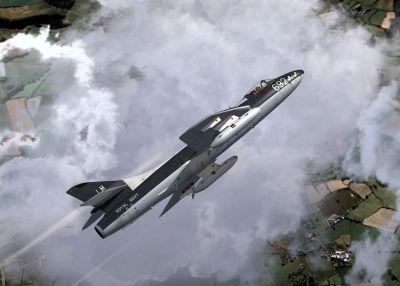 Royal Navy Hawker Hunter in flight.