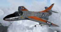 Silver-Dayglo Royal Navy Hunter in flight.