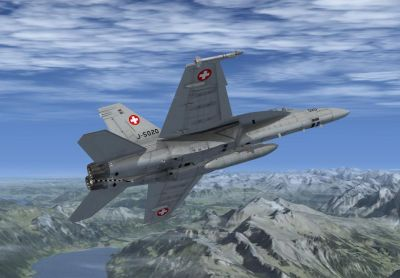 Swiss Air Force F/A-18E Flst. 11 in flight.