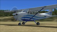 White With Blue Lines Cessna C172.