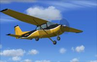 Yellow And Black Cessna 172SP in flight.
