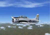 US Navy North American Aviation T-28 Trojan in flight.