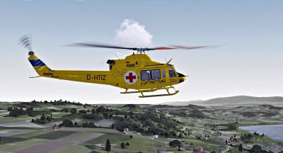 ADAC-Luftrettung Bell 412 in flight.