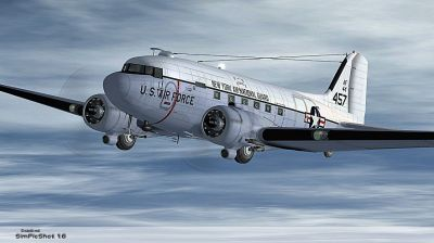 Air National Guard Douglas C-47 in flight.