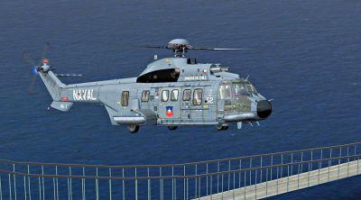 Armada de Chile AS 332 L2 in flight.