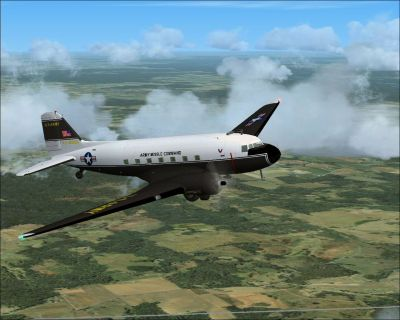 Army Missile Command Douglas C-47 in flight.