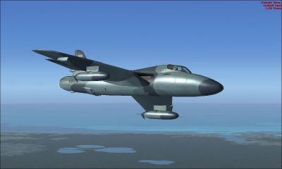 ATAC Hawker Hunter in flight.