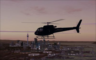 Auckland Police AS350 B3 'Eagle' in flight.