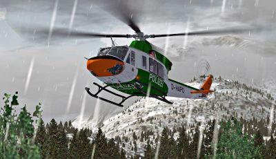"""Bell 412 """"Polizei Hamburg"""" in flight."""
