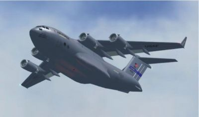 Boeing C-17 Globemaster III in flight.