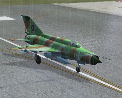 Bulgarian Air Force MiG-21MF on runway.