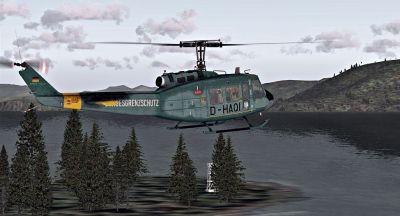 Bundesgrenzschutz UH-1H in flight.