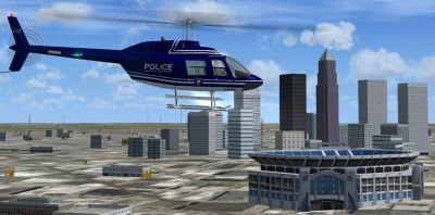 Charlotte Mecklenburg Police Bell 206 in flight.