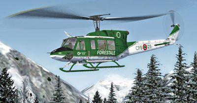 Corpo Forestale Bell 212 in flight.