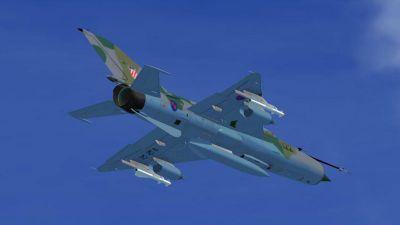 Croatian Air Force (HRZ) MIG-21 in flight.