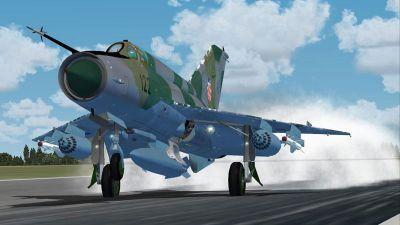 Croatian Air Force MiG-21 landing on runway.