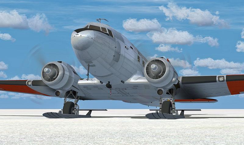 Piste en neige Douglas-c-47-skytrain-on-skis-fsx1