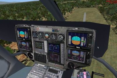 Virtual cockpit of Eurocopter EC-135.
