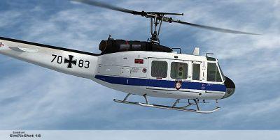 """""""Flugbereitschaft BMVg"""" Bell UH-1D in flight."""