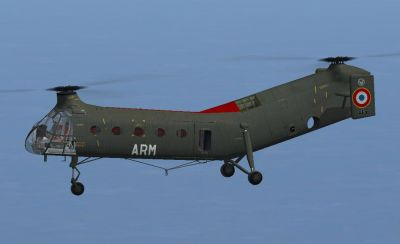 French Army (ALAT) Piasecki H-21C in flight.