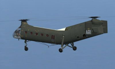 French Army H-21C in flight.