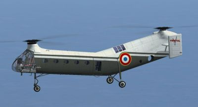 French Army Vertol V-42B in flight.