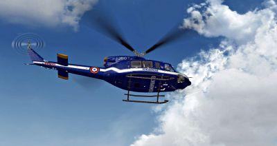 Gendarmerie Nationale Bell 412 in flight.