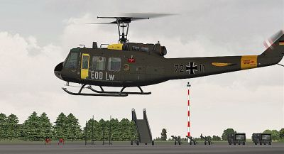 German Airforce EOD Bell UH-1D in flight.