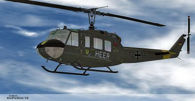 German Army/HEER Bell UH-1D in flight.