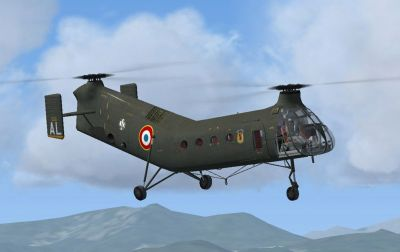 H-21C French Army (ALAT) GH2 Setif 1956 in flight.