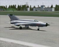 Hungarian Air Force MiG-21MF on runway.