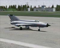 Hungarian Air Force MiG-21MF on runway.