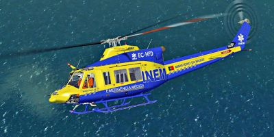 INEM-Portugal Bell 412 in flight.