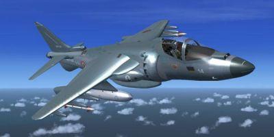 Italian Navy Harrier in flight.