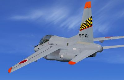 Kawasaki T-4 Trainer in flight.